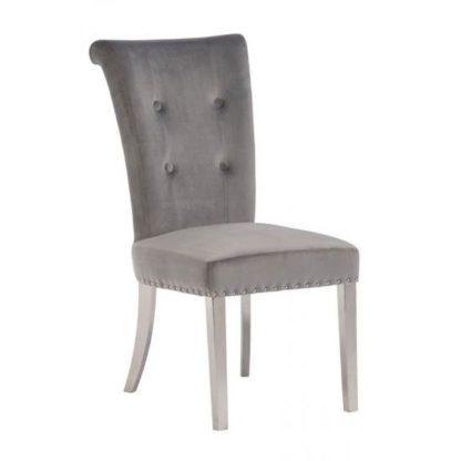 An Image of Mitzi Velvet Upholstered Dining Chair In Grey