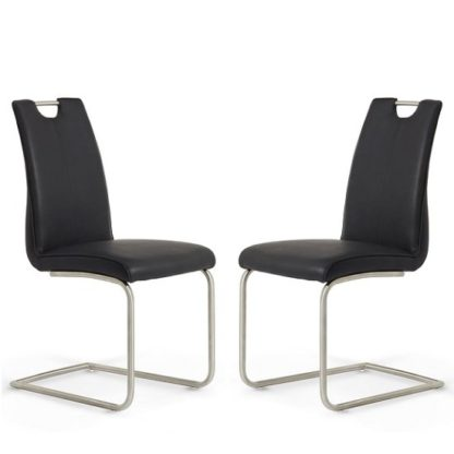 An Image of Harley Harley Dining Chair In Black Faux Leather In A Pair