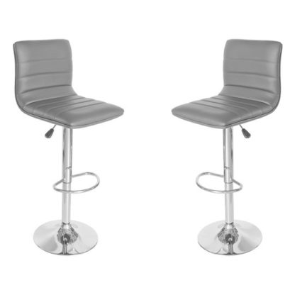 An Image of Ribble Grey Leather Bar Stool In Pair