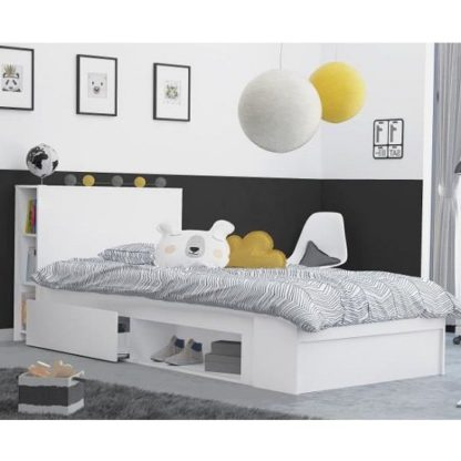 An Image of Chevron Wooden Childrens Bed In Matt White With 2 Drawers