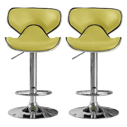 An Image of Hillside Lime PU Leather Bar Stool In Pair With Chrome Base