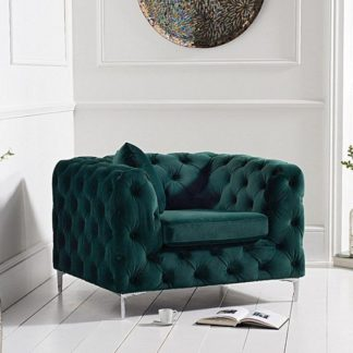 An Image of Sabine Velvet Armchair In Plush Green With Metal Legs