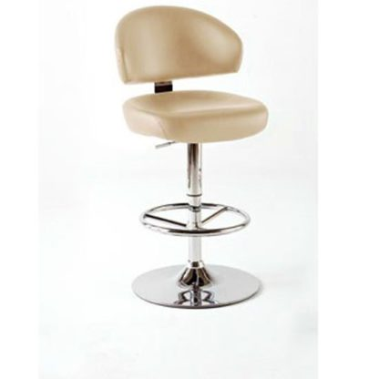 An Image of Bingo Cream Bar Stool In Faux Leather With Chrome Base