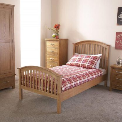 An Image of Madrid Rubberwood Single Bed In Natural Oak