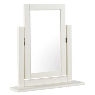 An Image of Alaya Vanity Mirror In Stone White Finish