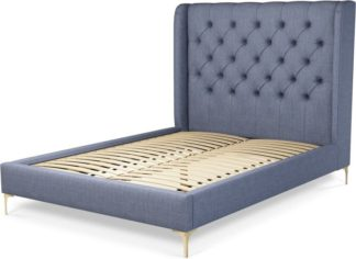 An Image of Custom MADE Romare Double size Bed, Denim Cotton with Brass Legs