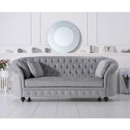 An Image of Astoria Chesterfield 3 Seater Sofa In Grey Plush Fabric