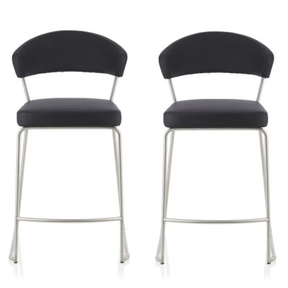 An Image of Adelina Contemporary Bar Stool In Black Faux Leather In A Pair