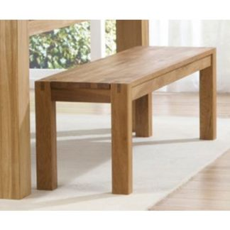 An Image of Skat Wooden Dining Bench In Oak