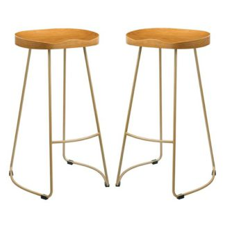 An Image of Bailey Gold Effect Leg Bar Stool In Pair With Pine Wood Seat