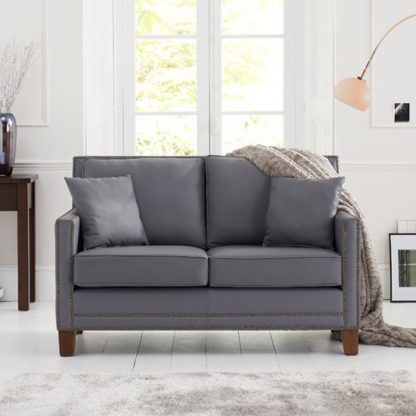 An Image of Cobalt 2 Seater Sofa In Grey Leather With Dark Ash Legs