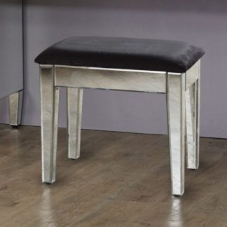 An Image of Marnie Mirrored Dressing Table With Black Cushioned Seat