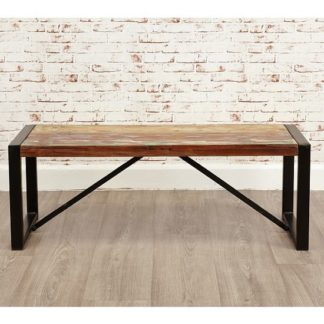 An Image of London Urban Chic Wooden Small Dining Bench With Steel Base