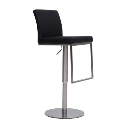 An Image of Bahama Bar Stool In Black PU With Brushed Stainless Steel Base