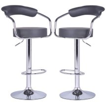 An Image of Zenith Bar Stools In Charcoal Grey Faux Leather in A Pair