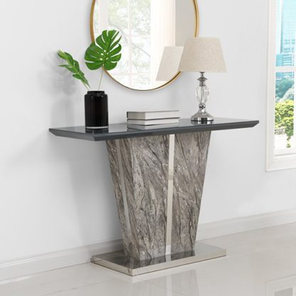 An Image of Melange Console Table In Gloss with Grey Glass Top
