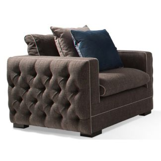 An Image of Ivy Fabric 1 Seater Sofa In Charcoal With Scatter Cushions