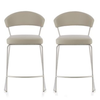 An Image of Adelina Contemporary Bar Stool In Grey Faux Leather In A Pair