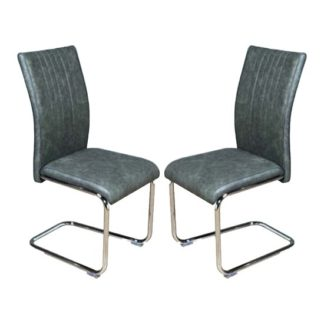 An Image of Ceibo Two Tone Grey Leather Dining Chairs In Pair