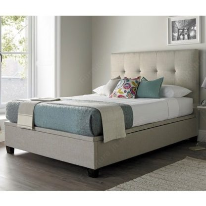 An Image of Florus Fabric Ottoman Storage Super King Size Bed In Oatmeal