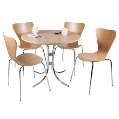 An Image of Cafe Bistro Set In Light Wood With Chrome Legs