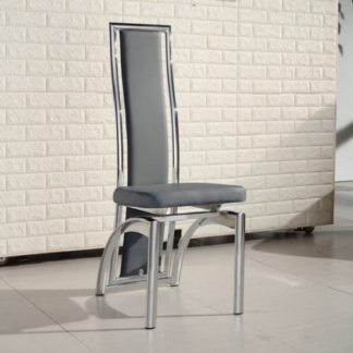 An Image of Chicago Dining Chair In Grey Faux Leather With Chrome Frame