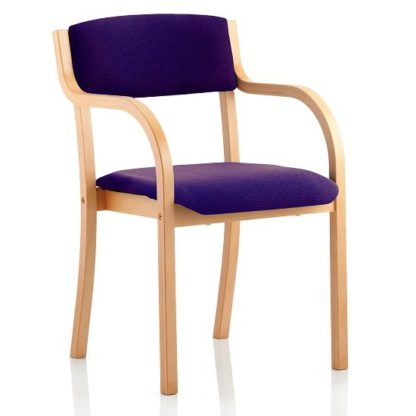 An Image of Charles Office Chair In Purple And Wooden Frame With Arms