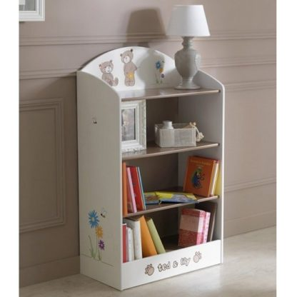 An Image of Britta Wooden Bookshelf In Chocolate And Beige