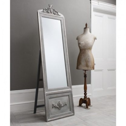 An Image of Gracie Cheval Floor Standing Mirror In Silver And Detailed Panel