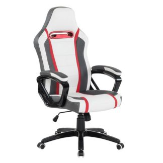 An Image of Neasa White PU Gaming Office Chair With Grey And Red Finish