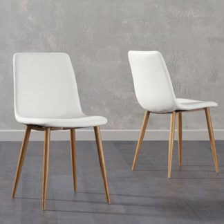 An Image of Inquill White Fabric Wooden Leg Dining Chairs In Pair