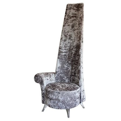 An Image of Wilton Right Handed Potenza Chair In Silver Crushed Velvet