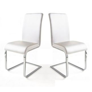 An Image of Lotte I Dining Chair In White Faux Leather in A Pair