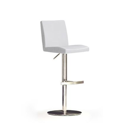 An Image of Lopes White Bar Stool In Faux Leather With Stainless Steel Base
