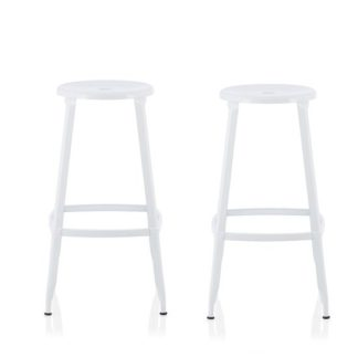 An Image of Bryson 76cm Metal Bar Stools In White In A Pair