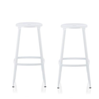 An Image of Bryson 66cm Metal Bar Stools In White In A Pair