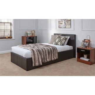 An Image of End Lift Ottoman Single Bed In Brown
