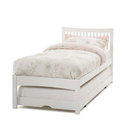 An Image of Mya Hevea Wooden Single Bed and Guest Bed In Opal White
