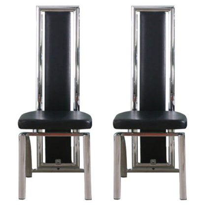 An Image of Chicago Black Dining Chairs In A Pair