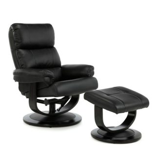 An Image of Darwin Recliner Chair In Black Faux Leather With Footstool