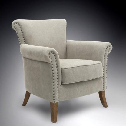An Image of Amira Fabric Arm Chair In Natural With Wooden Legs