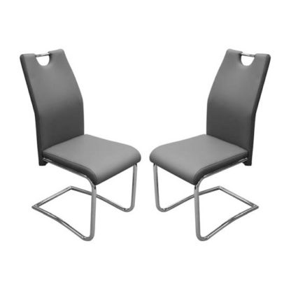 An Image of Capella Grey Faux Leather Dining Chairs In Pair