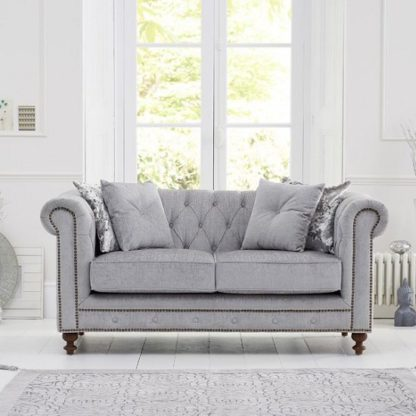 An Image of Mentor Fabric 2 Seater Sofa In Grey With Dark Ash Legs
