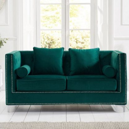 An Image of Mulberry Modern Fabric 2 Seater Sofa In Green Velvet
