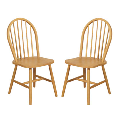 An Image of Marsic Light Oak Spindleback Dining Chair In Pair