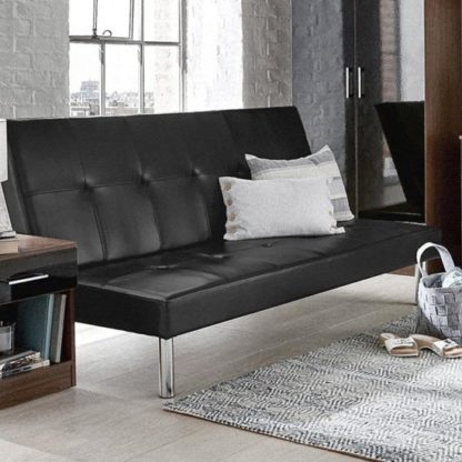 An Image of Seattle Faux Leather Sofa Bed In Black
