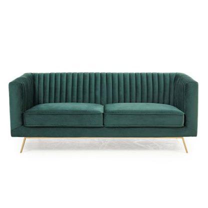 An Image of Achird Velvet 2 Seater Sofa In Green