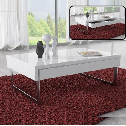 An Image of Casa Coffee Table In White Gloss With Chrome Legs And Drawer