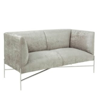 An Image of Blaze Fabric 2 Seater Sofa In Slate And Polished Stainless Steel