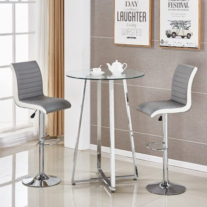 An Image of Poseur Glass Bar Table With 2 Ritz Grey And White Stools